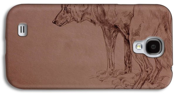 Nature Study Drawings Galaxy S4 Cases - Wolf Sketch Galaxy S4 Case by Derrick Higgins