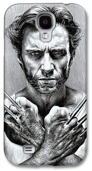 Character Portraits Drawings Galaxy S4 Cases - Wolverine Galaxy S4 Case by Andrew Read