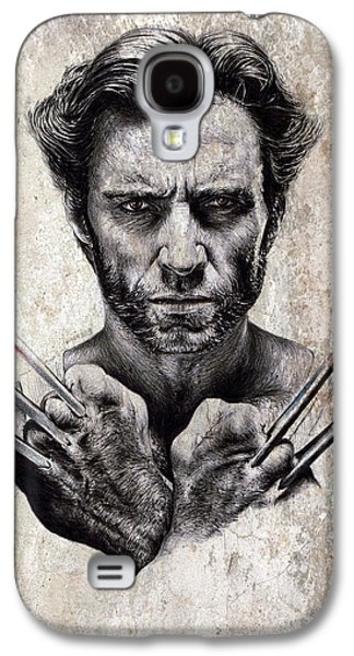 Science Fiction Drawings Galaxy S4 Cases - Wolverine splash effect Galaxy S4 Case by Andrew Read