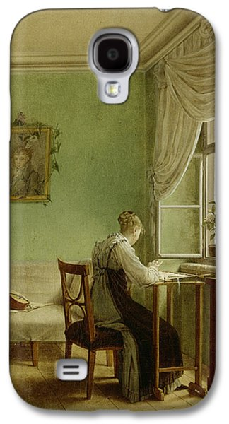 Pastimes Galaxy S4 Cases - Woman Embroidering, 1812 Oil On Canvas Galaxy S4 Case by Georg Friedrich Kersting