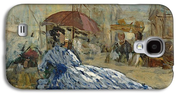 Woman In A Dress Galaxy S4 Cases - Woman in a blue dress under a parasol Galaxy S4 Case by Eugene Louis Boudin