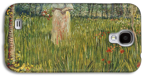 Woman In A Dress Galaxy S4 Cases - Woman in a Garden Galaxy S4 Case by Vincent van Gogh