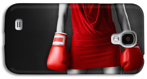 Self Shot Photographs Galaxy S4 Cases - Woman in sexy red dress wearing boxing gloves Galaxy S4 Case by Oleksiy Maksymenko