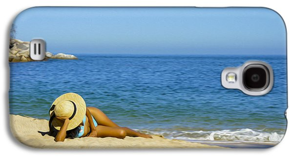 Enjoying Galaxy S4 Cases - Woman lying on the beach Galaxy S4 Case by Aged Pixel