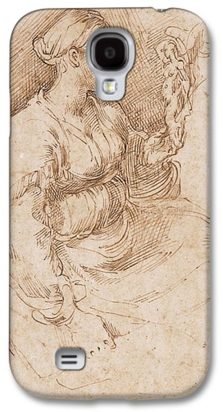 Contemplative Photographs Galaxy S4 Cases - Woman Seated Holding A Statuette Of Victory, C.1524 Pen & Ink On Paper Galaxy S4 Case by Parmigianino