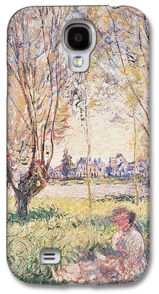 Claude Paintings Galaxy S4 Cases - Woman seated under the Willows Galaxy S4 Case by Claude Monet