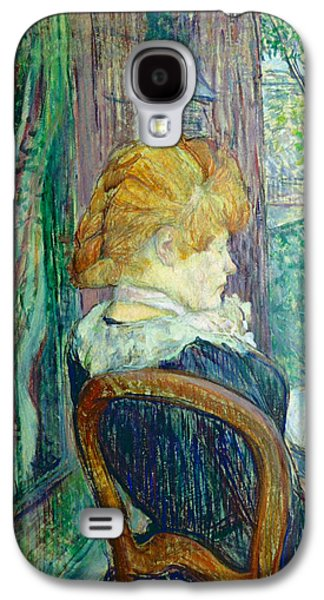 Sit-ins Paintings Galaxy S4 Cases - Woman sitting in a garden Galaxy S4 Case by Henri de Toulouse-lautrec