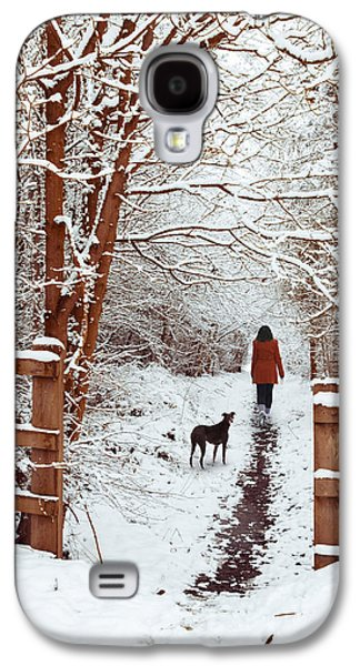 Lane Galaxy S4 Cases - Woman Walking Dog Galaxy S4 Case by Amanda And Christopher Elwell
