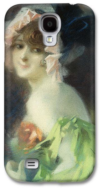 Portraits Pastels Galaxy S4 Cases - Woman with Gloves Galaxy S4 Case by Jules Cheret