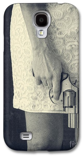 Strength Photographs Galaxy S4 Cases - Woman with Revolver 60 x 45 custom Galaxy S4 Case by Edward Fielding