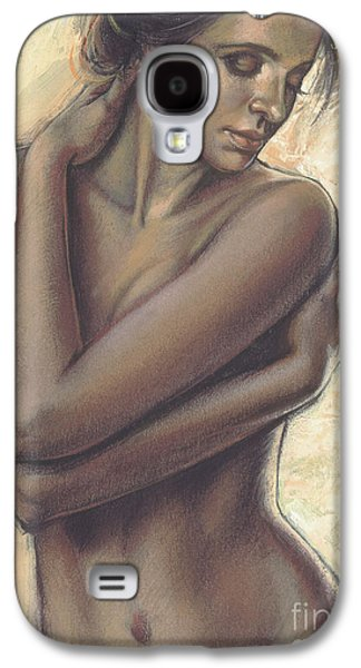 Nude Digital Galaxy S4 Cases - Woman With White Drape Crop Galaxy S4 Case by Zorina Baldescu