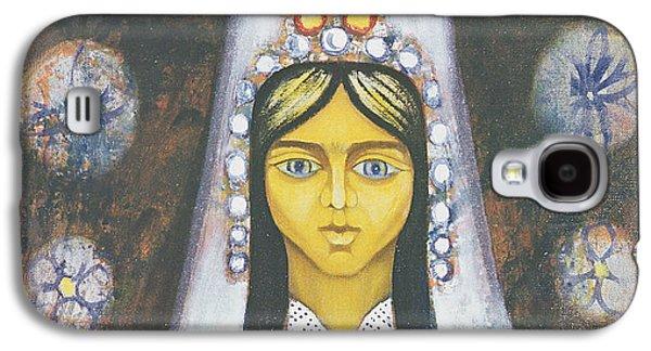 Folk Art Photographs Galaxy S4 Cases - Womans Head, 1968 Oil On Canvas Galaxy S4 Case by Radi Nedelchev