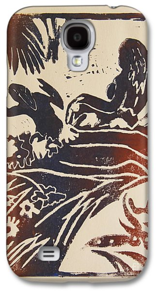 Lino-cut Galaxy S4 Cases - Women I a La Gauguin Galaxy S4 Case by Christiane Schulze Art And Photography