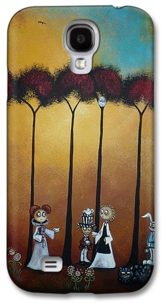 Mad Hatter Paintings Galaxy S4 Cases - Wonderland Tea Party Galaxy S4 Case by Charlene Zatloukal