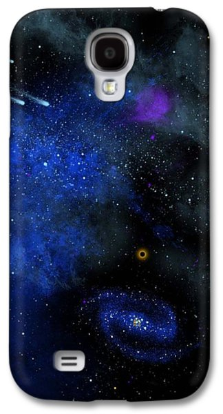 Cosmic Space Paintings Galaxy S4 Cases - Wonders Of The Universe Mural Galaxy S4 Case by Frank Wilson