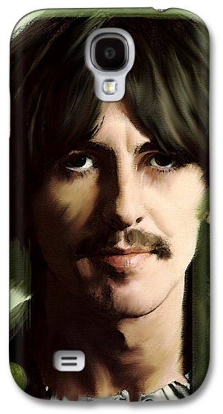Beatles Drawings Galaxy S4 Cases - Wondersun George Harrison Galaxy S4 Case by Iconic Images Art Gallery David Pucciarelli