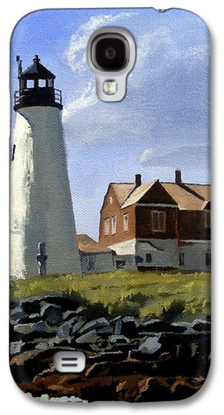 Nubble Lighthouse Paintings Galaxy S4 Cases - Wood Island Lighthouse Maine Galaxy S4 Case by Christine Hopkins