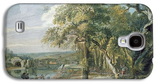 Pull Galaxy S4 Cases - Woodcutters Near A River, C.1755 Wc On Paper Galaxy S4 Case by Paul Sandby