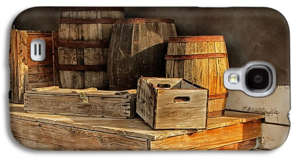 Wooden Platform Galaxy S4 Cases - Wooden Barrels and Crates on a shelf at a Railroad Station Galaxy S4 Case by Randall Nyhof