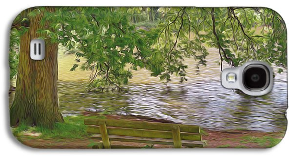 Empty Chairs Paintings Galaxy S4 Cases - Wooden bench at a lake Galaxy S4 Case by Lanjee Chee