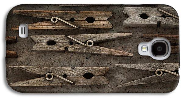 Cloth Galaxy S4 Cases - Wooden Clothespins Galaxy S4 Case by Priska Wettstein