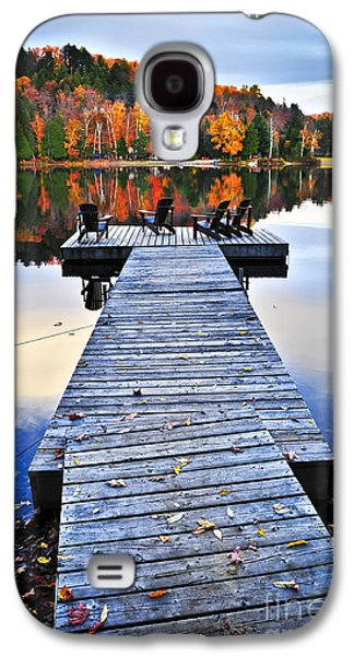 Recently Sold -  - Landscapes Photographs Galaxy S4 Cases - Wooden dock on autumn lake Galaxy S4 Case by Elena Elisseeva