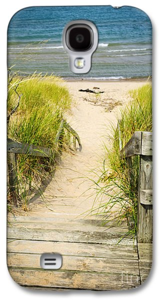 Getaway Galaxy S4 Cases - Wooden stairs over dunes at beach Galaxy S4 Case by Elena Elisseeva