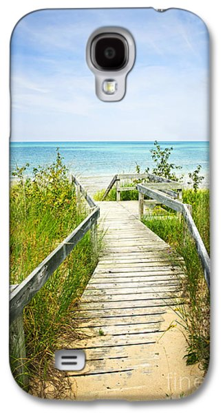 Getaway Galaxy S4 Cases - Wooden walkway over dunes at beach Galaxy S4 Case by Elena Elisseeva