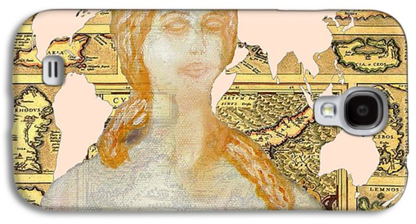 Old Map Digital Galaxy S4 Cases - Word Map Cyprus and Aphrodite Galaxy S4 Case by Augusta Stylianou