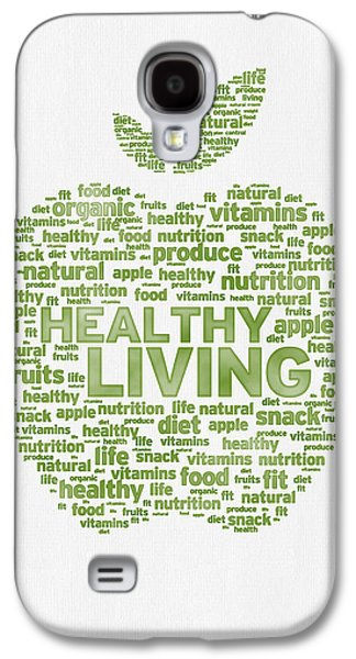 Snack Galaxy S4 Cases - Words Healthy Living - Green Ink Galaxy S4 Case by Aged Pixel