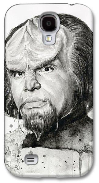 Science Fiction Paintings Galaxy S4 Cases - Worf Portrait Watercolor Star Trek Art Galaxy S4 Case by Olga Shvartsur