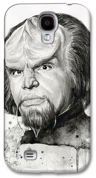 Star Trek Galaxy S4 Cases - Worf Portrait Watercolor Star Trek Art Galaxy S4 Case by Olga Shvartsur