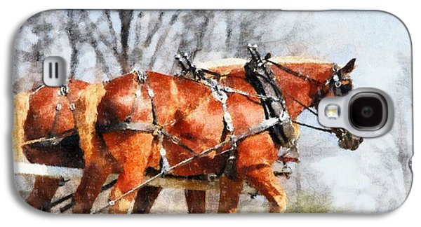 Working Mixed Media Galaxy S4 Cases - Work Horses In The Field Galaxy S4 Case by Dan Sproul