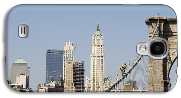 Terrorism Galaxy S4 Cases - Workers on Brooklyn Bridge in Manhattan Galaxy S4 Case by Patricia Hofmeester