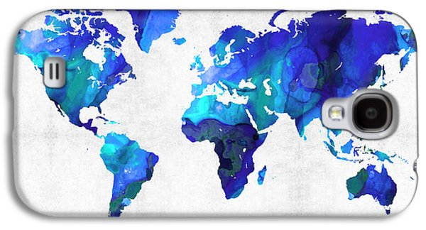 America The Continent Mixed Media Galaxy S4 Cases - World Map 17 - Blue Art By Sharon Cummings Galaxy S4 Case by Sharon Cummings