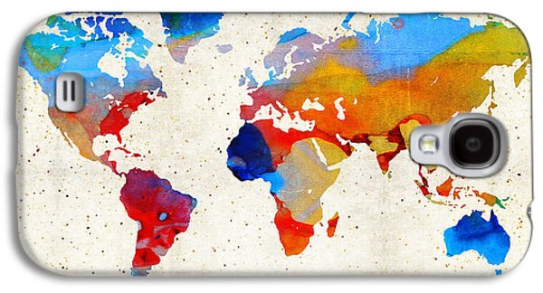 America The Continent Mixed Media Galaxy S4 Cases - World Map 18 - Colorful Art By Sharon Cummings Galaxy S4 Case by Sharon Cummings