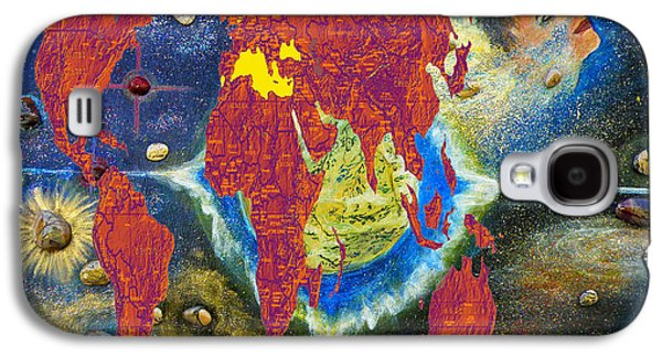 Barack Obama Galaxy S4 Cases - World Map and Barack Obama Stars Galaxy S4 Case by Augusta Stylianou