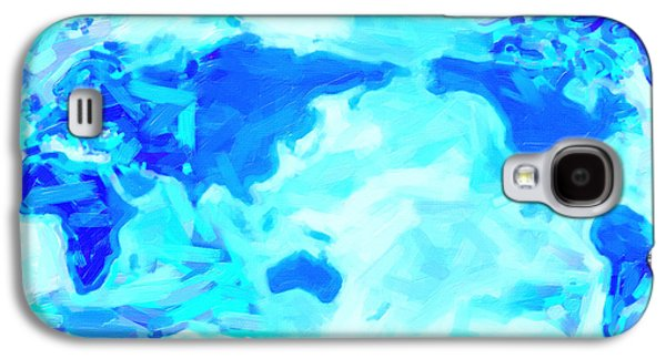 Abstract Digital Paintings Galaxy S4 Cases - World Map Galaxy S4 Case by Celestial Images