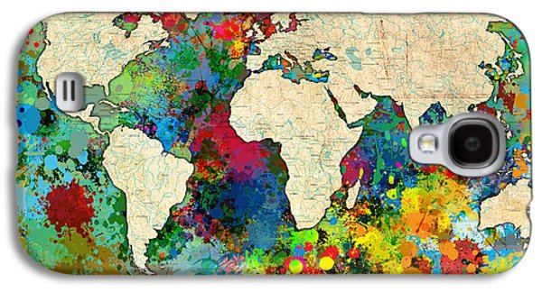 Grunge Galaxy S4 Cases - World Map Colorful Galaxy S4 Case by Gary Grayson
