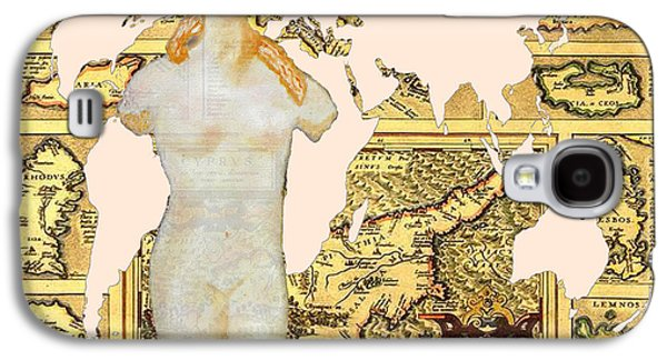 Old Map Digital Galaxy S4 Cases - World Map Cyprus and Aphrodite Galaxy S4 Case by Augusta Stylianou