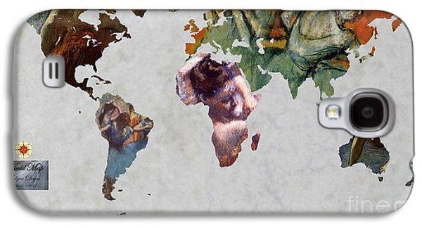 Ballet Dancers Digital Art Galaxy S4 Cases - Degas 5  World Map Galaxy S4 Case by John Clark