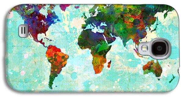 World Map Splatter Design Galaxy S4 Case by Gary Grayson