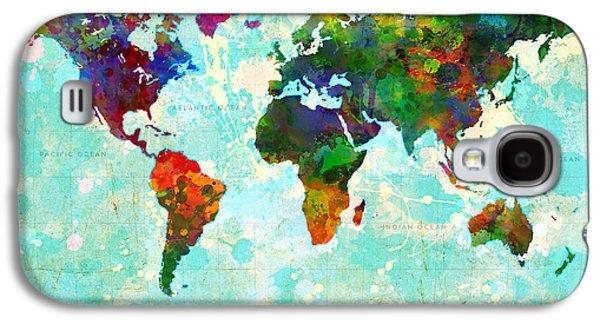 Abstract Digital Digital Galaxy S4 Cases - World Map Splatter design Galaxy S4 Case by Gary Grayson