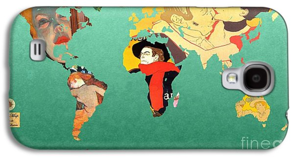 Illustrator Galaxy S4 Cases - Toulouse-Lautrec 1  World map Galaxy S4 Case by John Clark
