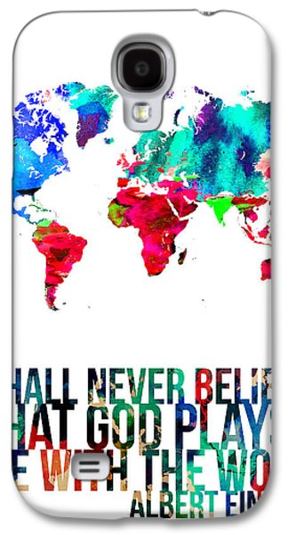 World Map Poster Digital Galaxy S4 Cases - World Map with a Quote 4 Galaxy S4 Case by Naxart Studio