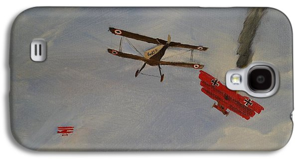 Wwi Paintings Galaxy S4 Cases - World War I Dogfight 3 Planes in Battle Galaxy S4 Case by Carl S Kralich