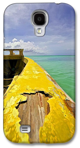 Water Vessels Galaxy S4 Cases - Worn Yellow Fishing Boat of Aruba Galaxy S4 Case by David Letts