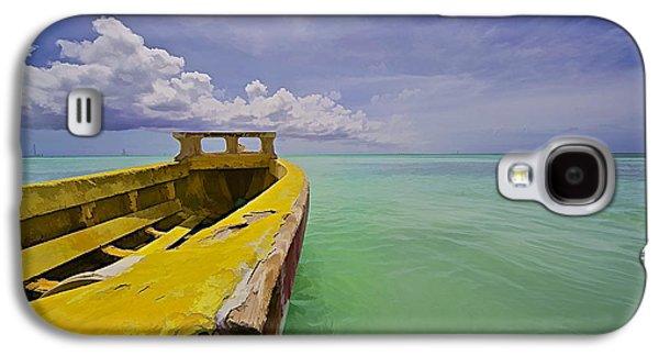 Water Vessels Galaxy S4 Cases - Worn Yellow Fishing Boat of Aruba II Galaxy S4 Case by David Letts
