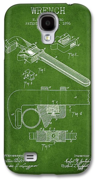 Wrench Patent Drawing From 1896 - Green Galaxy S4 Case by Aged Pixel