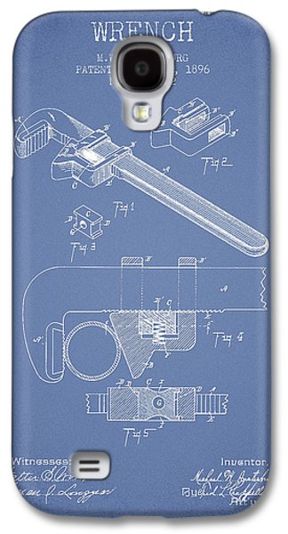 Wrench Patent Drawing From 1896 - Light Blue Galaxy S4 Case by Aged Pixel
